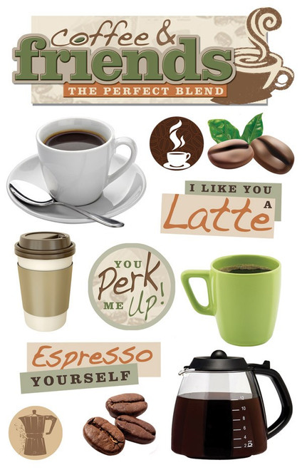 Paper House Productions 3D Stickers: Coffee & Friends