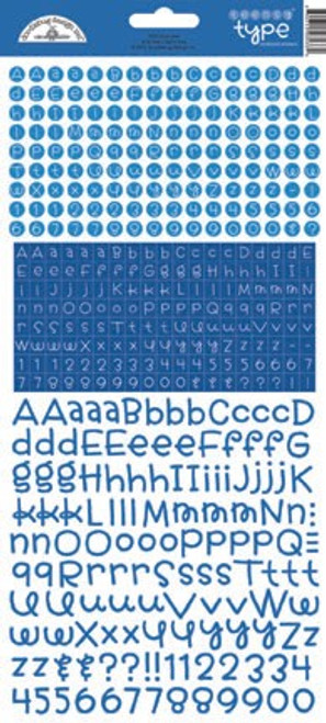 Teensy Type Cardstock Alphabet Stickers: Blue Jean