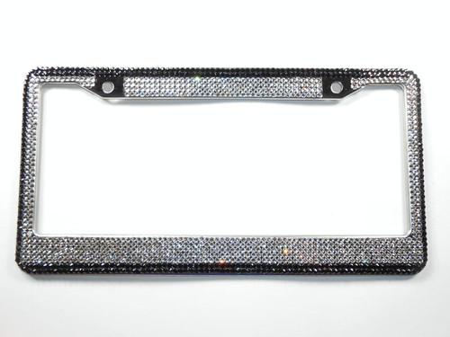 Crystal License Plate Frame, Clear 7 Row w/Black Border