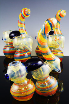 Color Changing Double Chamber Sherlock Glass Bubbler - B736