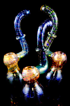 Large Gold and Silver Fumed Sherlock Bubble Net Bubbler - B812