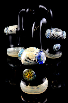Large Silver Fumed Glass Marble Sherlock Bubbler - B830
