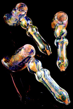 Large Gold Fumed Multicolor Striped Hammer Bubbler - B861