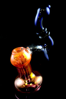 Large Gold Fumed Double Chamber Sherlock Glass Bubbler - B875