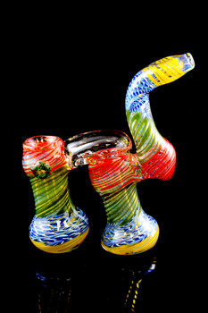 Medium Striped Sherlock Double Chamber Bubbler - B897