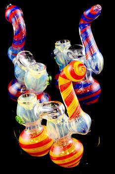 Medium Color Changing Double Chamber Sherlock Bubbler - B907