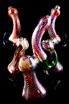 Large Silver Fumed Striped Frit Sherlock Glass Bubbler - B913