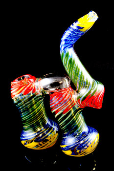Large Color Changing Striped Double Chamber Sherlock Bubbler - B914