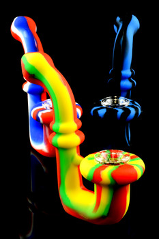 Silicone Sherlock Hand Pipe with Glass Bowl - P1430