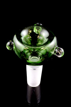 14.5mm Male Green Glass on Glass Bowl - BS498