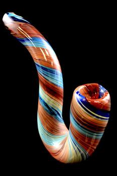 Silver Fumed Reverse Sherlock Glass Pipe - P1473