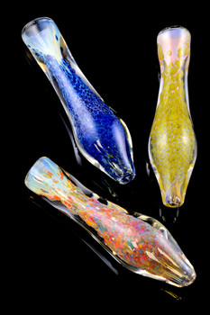 Color Changing Frit Glass Bulb Chillum - C207