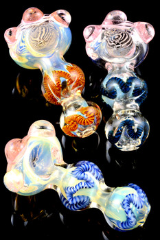 Thick Color Changing Pink Swirl Glass Pipe - P1506