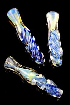 Blue Striped Twisted Glass Chillum - C211