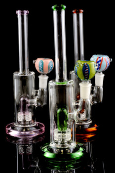 Small Colored Stemless GoG Water Pipe with Inline Perc - WP1354