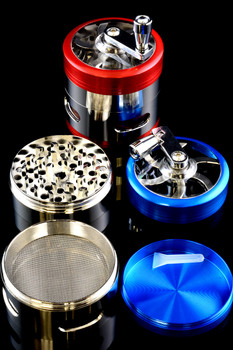 60mm 4 Pc Aluminum Hand Crank Grinder with Window - G224