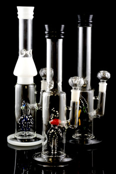 Large Stemless Glass on Glass Water Pipe with Stemline Animal Perc - WP1413