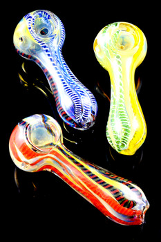 Small Color Changing Striped Glass Pipe - P1554