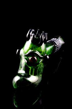 Large Silver Fumed Frit Ogre Hammer Glass Bubbler - B0977