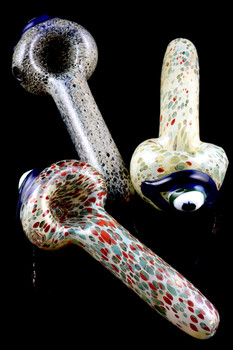 Color Changing Frit Eyeball Glass Pipe - P1589