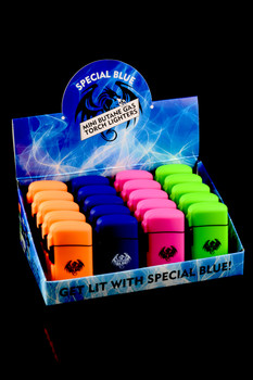 20 Pc Special Blue Classic Rubber Torch Lighter Display - L160