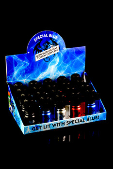 20 Pc Special Blue Bullet Metal Torch Lighter Display - L0164