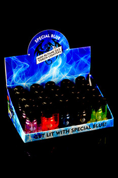 20 Pc Special Blue Bullet Clear Torch Lighter Display - L0169
