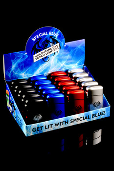 20 Pc Special Blue Classic Metal Torch Lighter Display - L0171