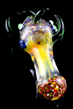 Thick Color Changing Confetti Frit Spiked Glass Pipe - P1620