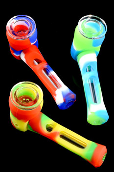 Colorful 2 Part Silicone/Glass Pipe - P1629