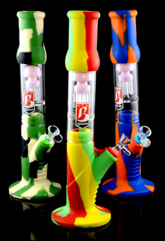 Colorful Large 3 Part Silicone Water Pipe with Glass Perc - WP1514