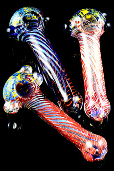 Color Changing Frit Striped Glass Pipe - P1654