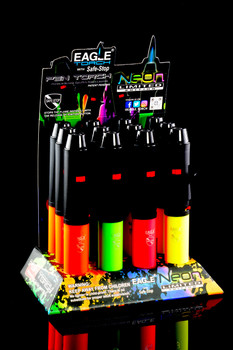 12 Pc Eagle Neon Pen Torch Lighter Display - L0174