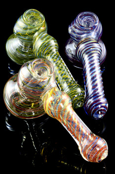 Medium Color Changing Striped Hammer Bubbler - B1004