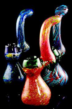 Large Silver Fumed Frit Sherlock Glass Bubbler - B1007