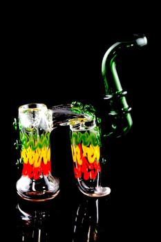 Sherlock Rasta Double Chamber Glass Bubbler - B1012