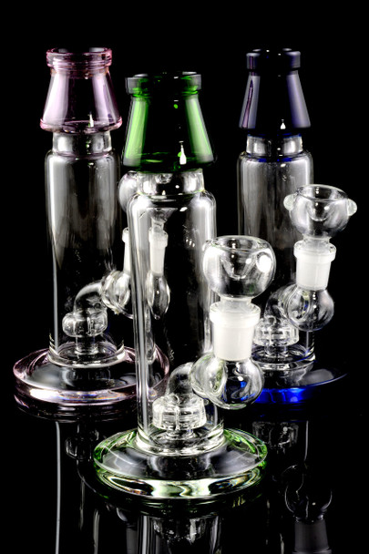 Small Colored Glass Water Pipe with Stemline Percolator - WP1532