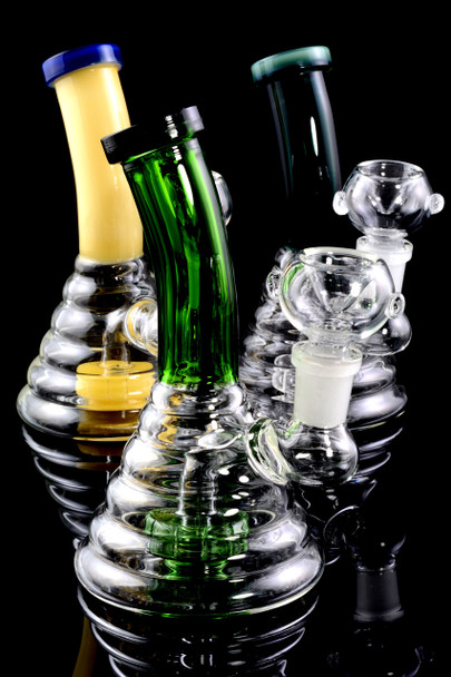 Small Colored Glass Beehive Water Pipe with Stemline Percolator - WP1533