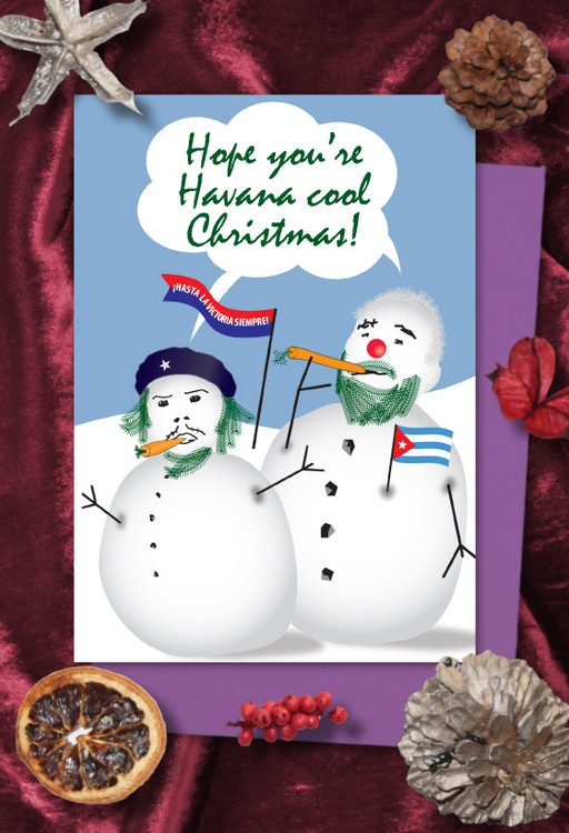 Che & Fidel Christmas cards pack of 8