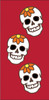 3x6 Tile Red Day of the Dead 3 Flower Skulls Right End