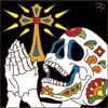 6x6 Tile Day of the Dead  Praying Skull