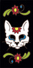 3x6 Tile Black Day of the Dead Cat Sugar Skull End