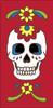 3x6 Tile Red Day of the Dead Sugar Skull Left End