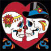 6x6 Tile Day of the Dead  Bride and Groom in Heart