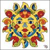 6x6 Tile Talavera Sunface/White 7828A