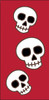 3x6 Tile Red Day of the Dead Three Skulls Left End