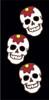 3x6 Tile Black Day of the Dead Flower Skulls Right End