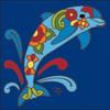 6x6 Tile Talavera Dolphin Cobalt 8171C
