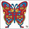 6x6 Tile Talavera Butterfly White
