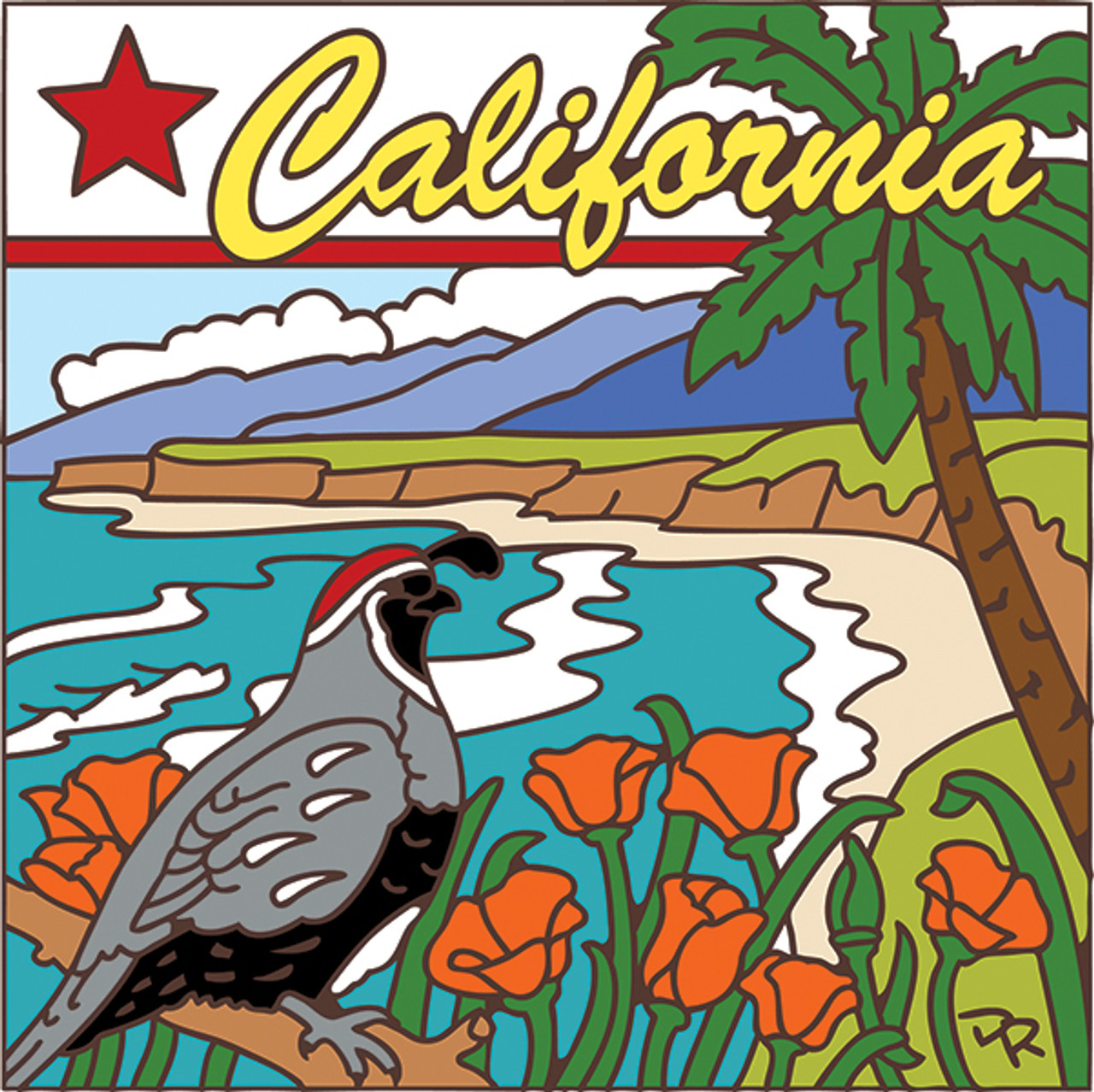 6x6 California State Symbols Decorative Art Tile